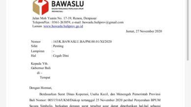 Photo of Tegur Koster, Bawaslu Bali Layangkan Surat Cegah Dini
